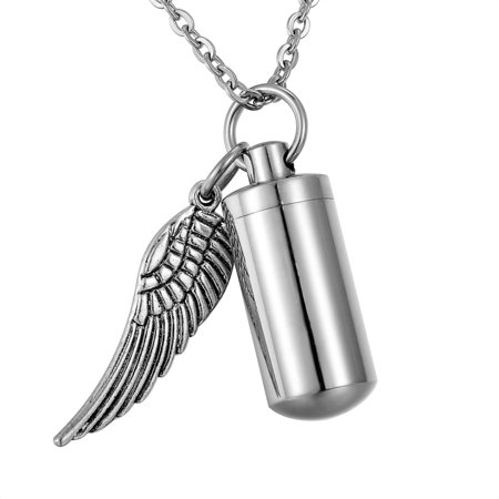 Angel Wing Cylinder Cremation Jewelry Keepsake Memorial Urn Necklace Key Chain for friend/family/Pet-1 Memorial Angel Urn
