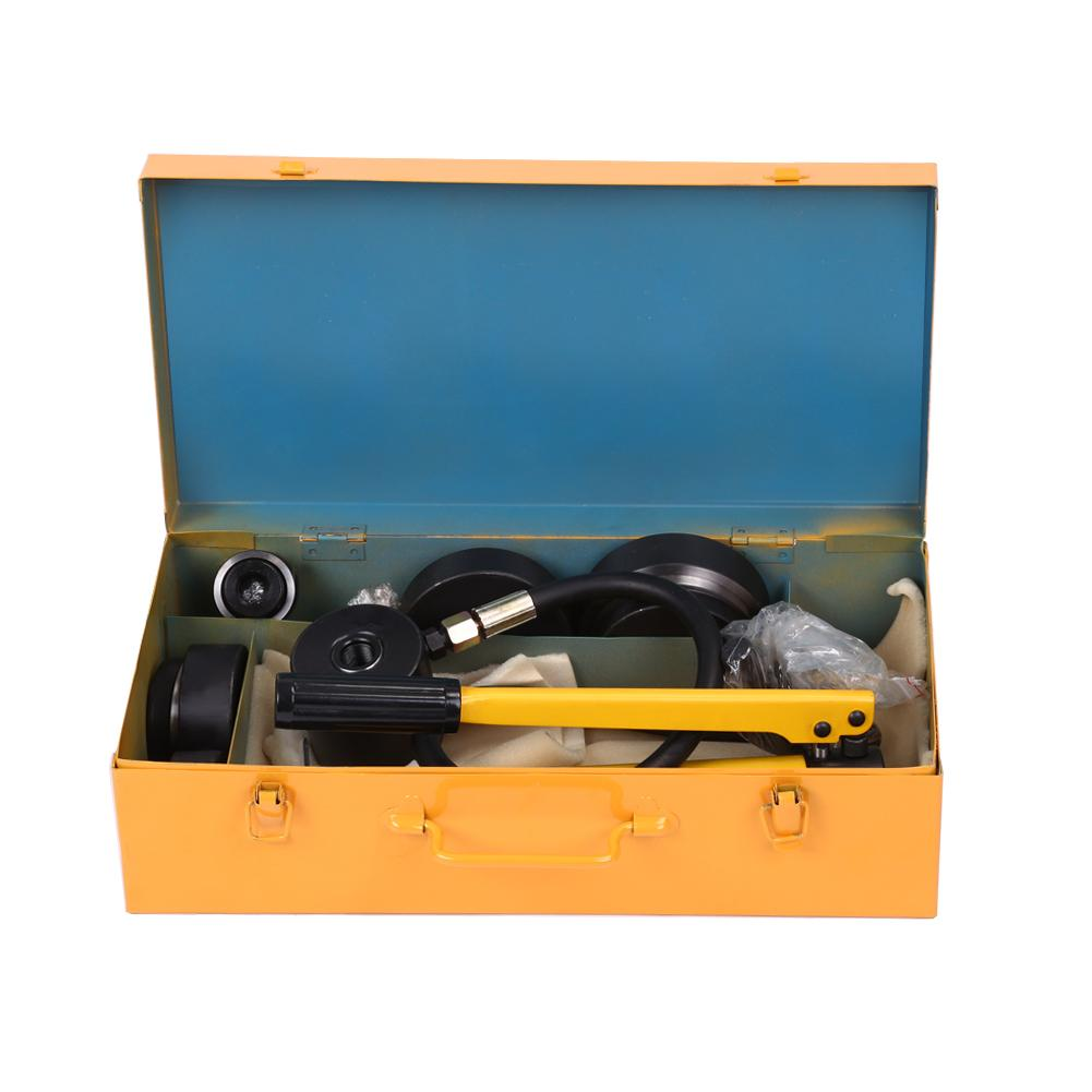 10 Ton Hydraulic Knockout Punch Hole Driver Kit Complete Tool Set with 6 Dies , Punch Driver Tool, Hydraulic Punch Driver