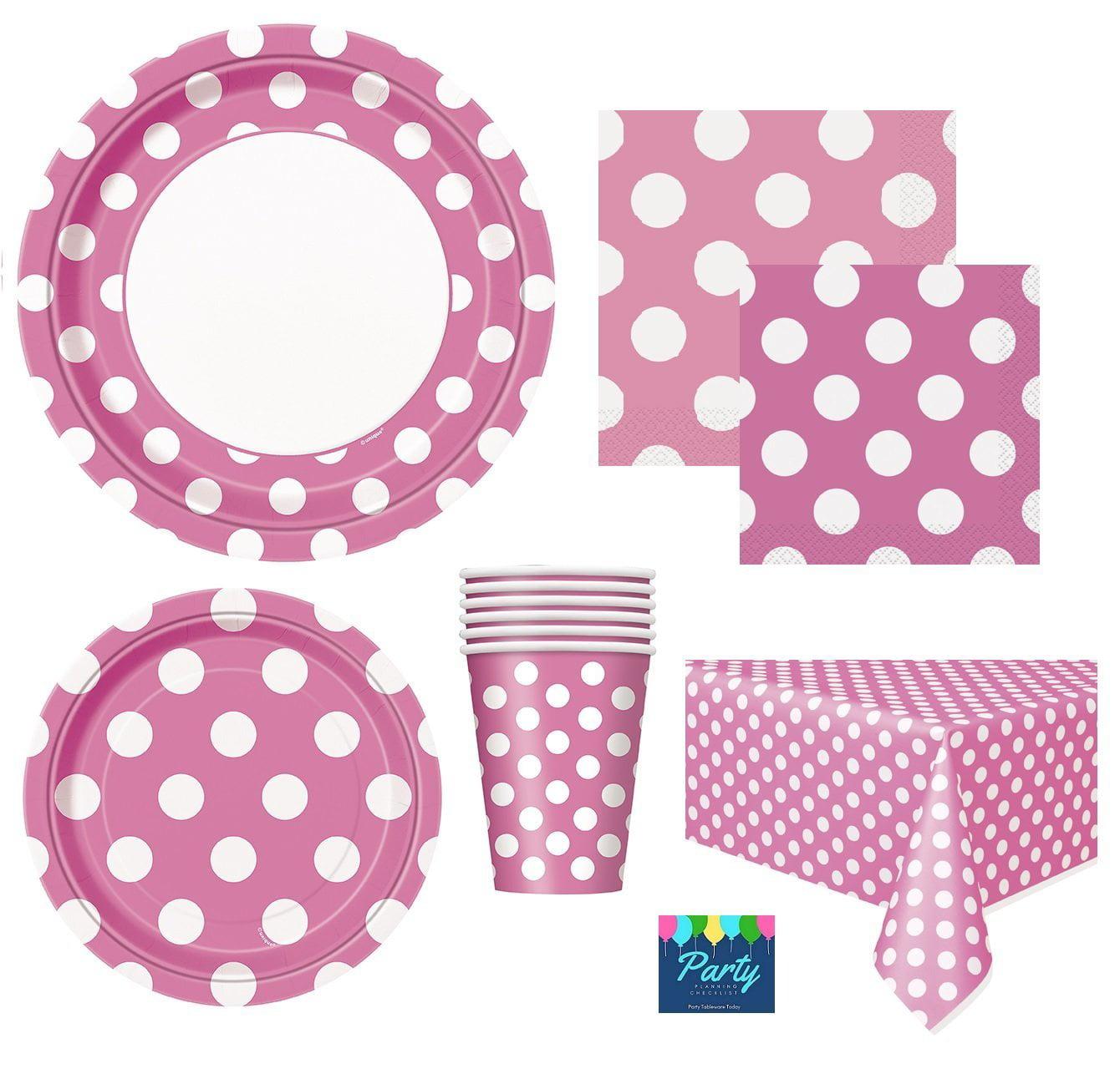 Hot Pink Polka Dot Party Beverage Napkins 3 pack of 16 ct