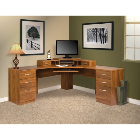 American Furniture Classics 72 in. L-Shaped Corner Workcenter Desk with Monitor Platform