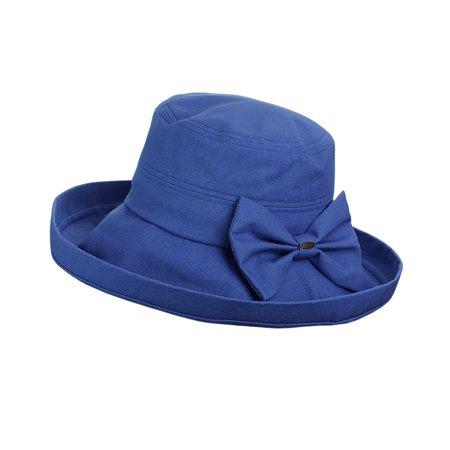 NYFASHION101 Women's Summer Packable Bow Accent Foldable Brim Beach Sun Hat - Denim Ivory Sun Hat