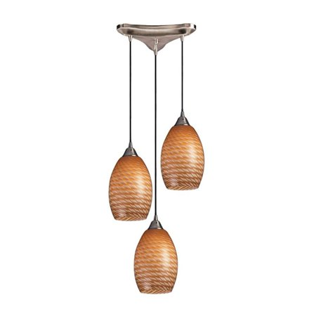 Elk Lighting Mulinello 3 Light Pendant in Satin Nickel and Cocoa - image 1 de 1