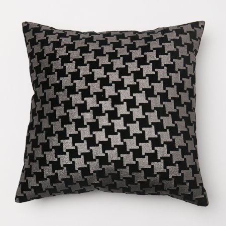 Quality Home Large Houndstooth Metallic Foil Printed Velvet Decorative Pillow Cover Only - 18