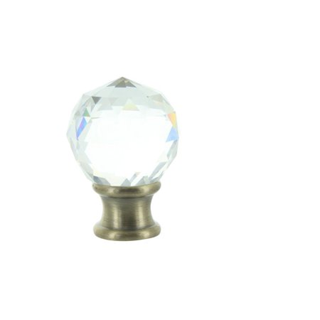 Clear Faceted Crystal Orb Finial with Antique Brass Base