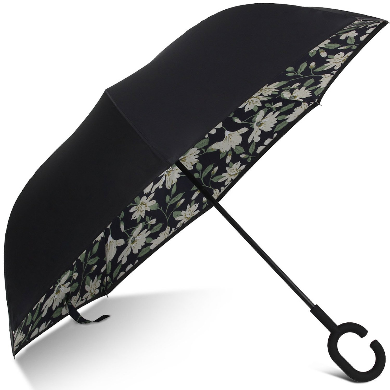 Skeleton Dinosaur Pattern Double Layer Windproof UV Protection Reverse Umbrella With C-Shaped Handle Upside-Down Inverted Umbrella For Car Rain Outdoor