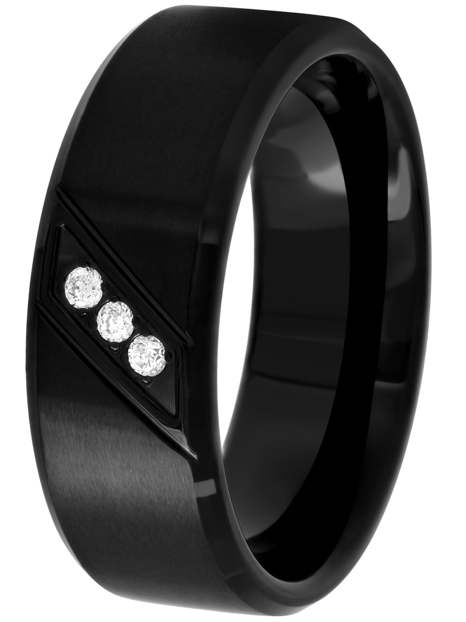 Brilliance Fine Jewelry Men S Black Stainless Steel Diamond Accent Wedding Band Mens Ring Walmart Com Walmart Com