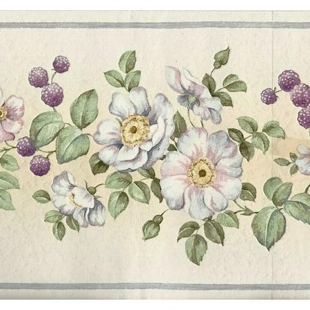 Prepasted Wallpaper Border Floral Beige Purple Pink Green