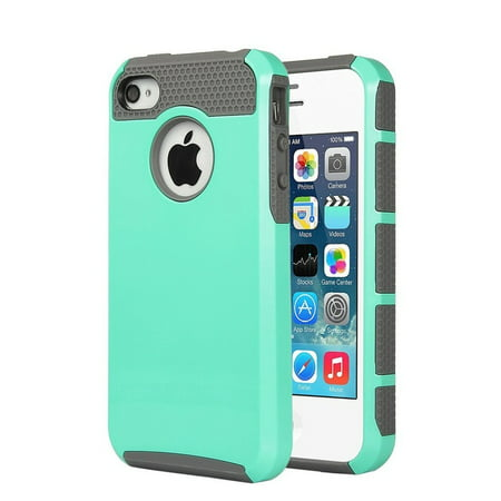 iPhone 4 Case, iPhone 4S Case, Dual Layer Shockproof Silicone Phone Protection Case TPU Hybrid Slim Fit Cover With  [Premium Screen Protector] And Touch Screen Pen