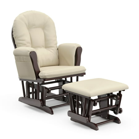Storkcraft Bowback Glider and Ottoman Espresso with Beige ()