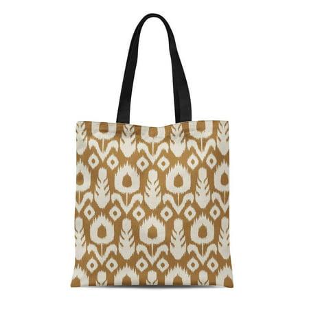 Tote Caramel (SIDONKU Canvas Tote Bag Tribal Ikat Floral Pattern Caramel Brown and Flower Exotic Reusable Handbag Shoulder Grocery Shopping)