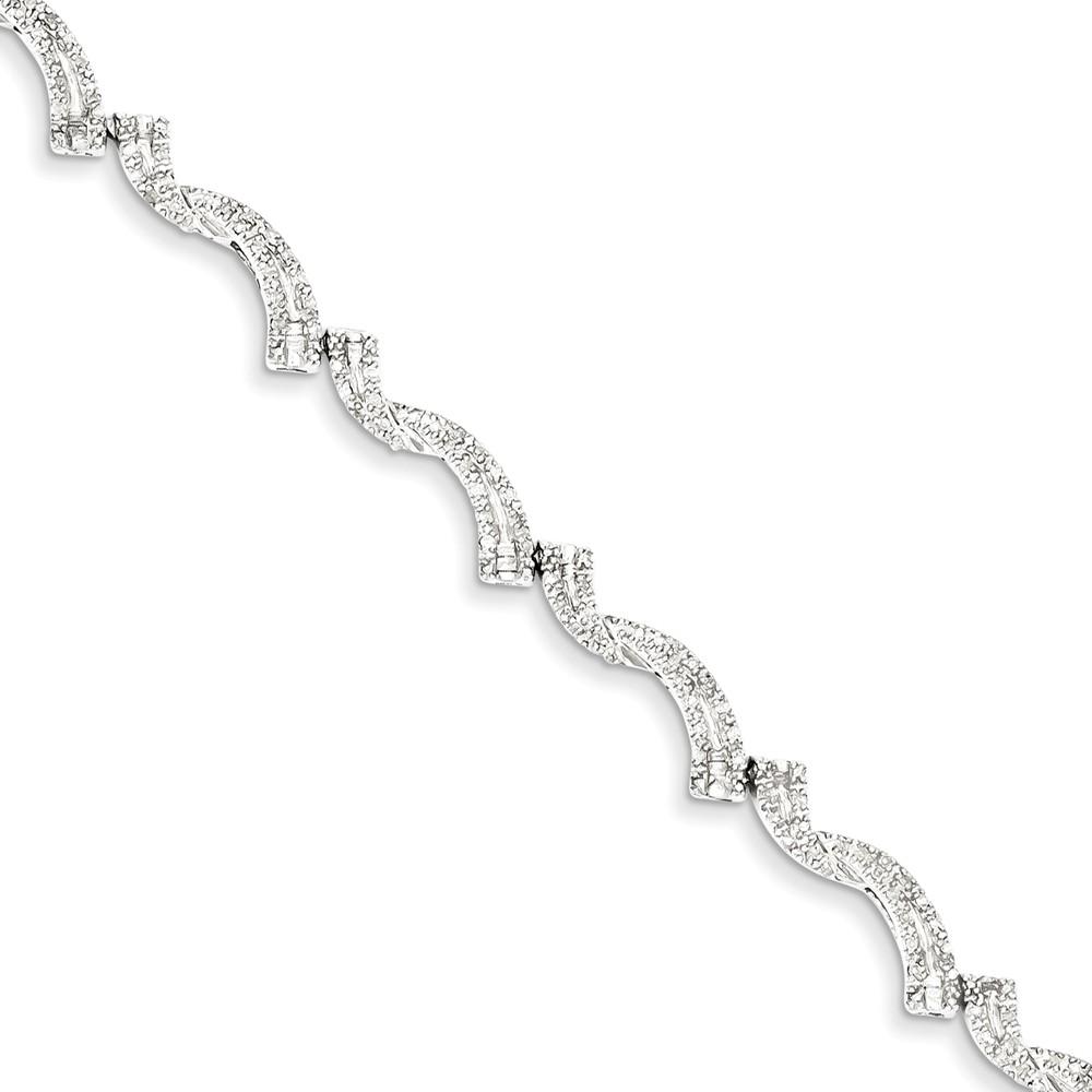 Sterling Silver Diamond Bracelet. Carat Wt- 0.75ct