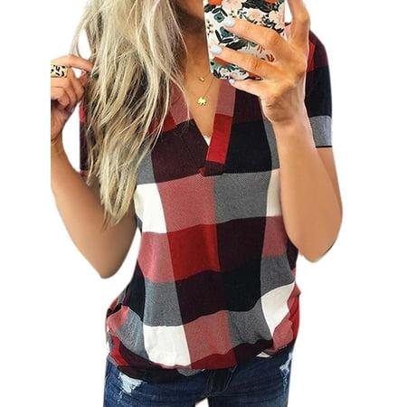 Women's Summer Short Sleeve T Shirt V Neck Peasant Plus Size Blouse Plaid Tops
