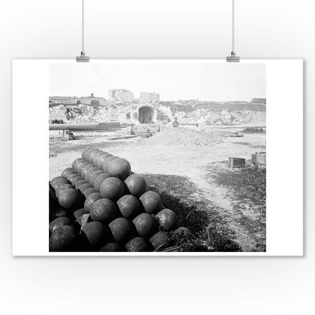 Charleston, SC - Cannonball Pile Inside Ft. Moultrie Civil War Photograph (9x12 Art Print, Wall Decor Travel Poster) (Charleston Photo)