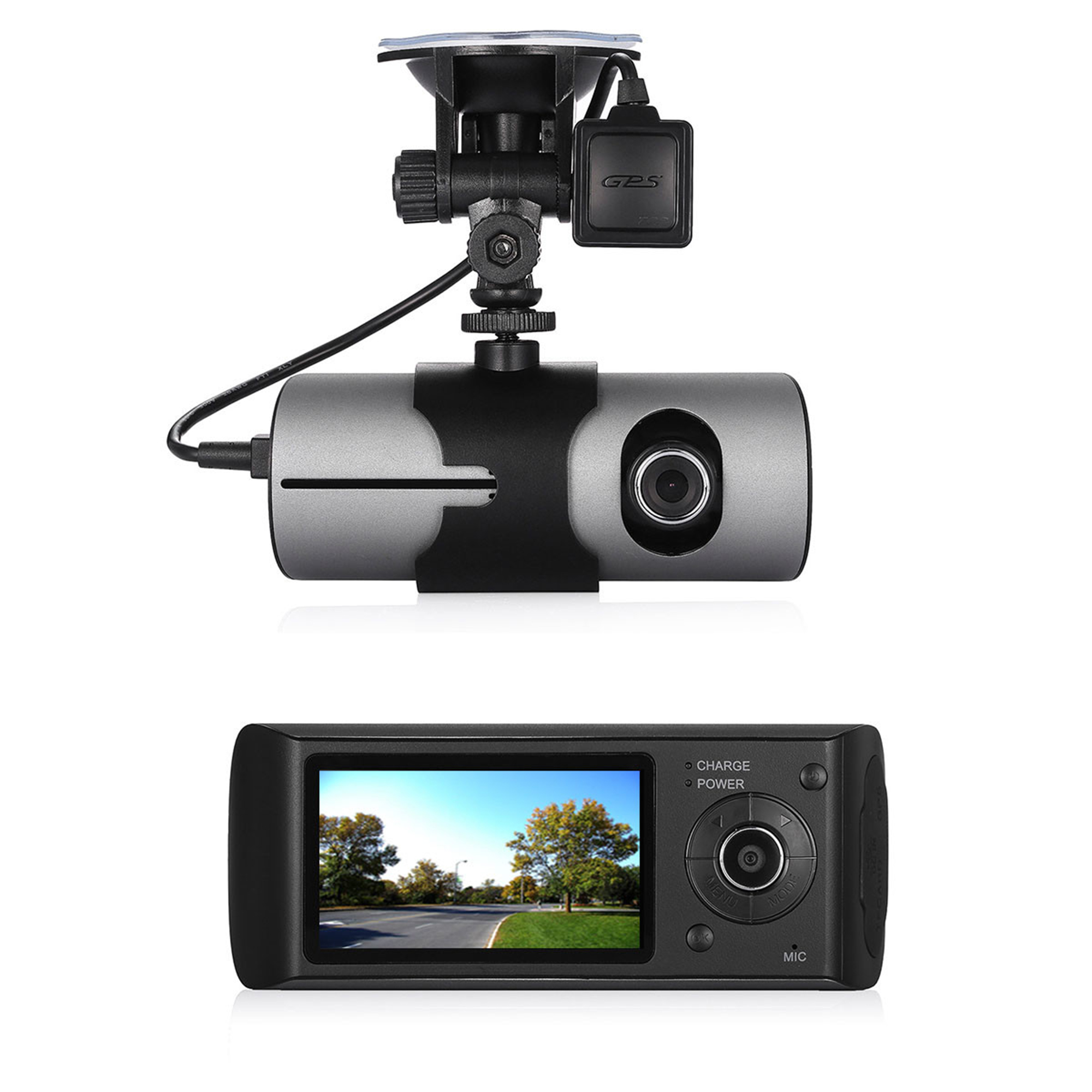"1080P 2.7"" Vehicle Car DVR Camera Video Recorder Dash Cam G-Sensor GPS Dual Len Video Car Recorders"