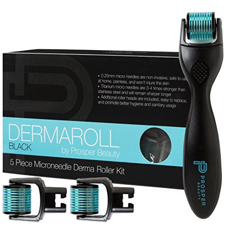 Derma Roller Microneedle 5 Piece Kit [DERMAROLL BLACK by Prosper Beauty] Face Roller w/3 Extra Replacement Heads Exfoliation Microdermabrasion Micro Skin Care Tool Dermaplaning Dermapen (Best At Home Dermapen)