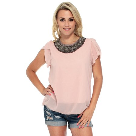 Ruffle Collar Blouse - Quality Embellished Bead Collar Ruffle Shoulder Tops T-Shirts Blouse 2P