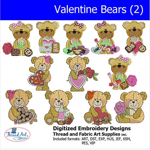 Threadart Machine Embroidery Designs Valentine Bears(2) CD