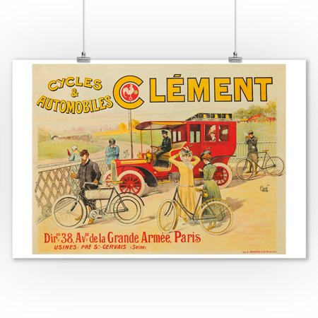 Cycles & Automobiles Clement Vintage Poster (artist: Leverd) France c. 1902 (9x12 Art Print, Wall Decor Travel Poster)