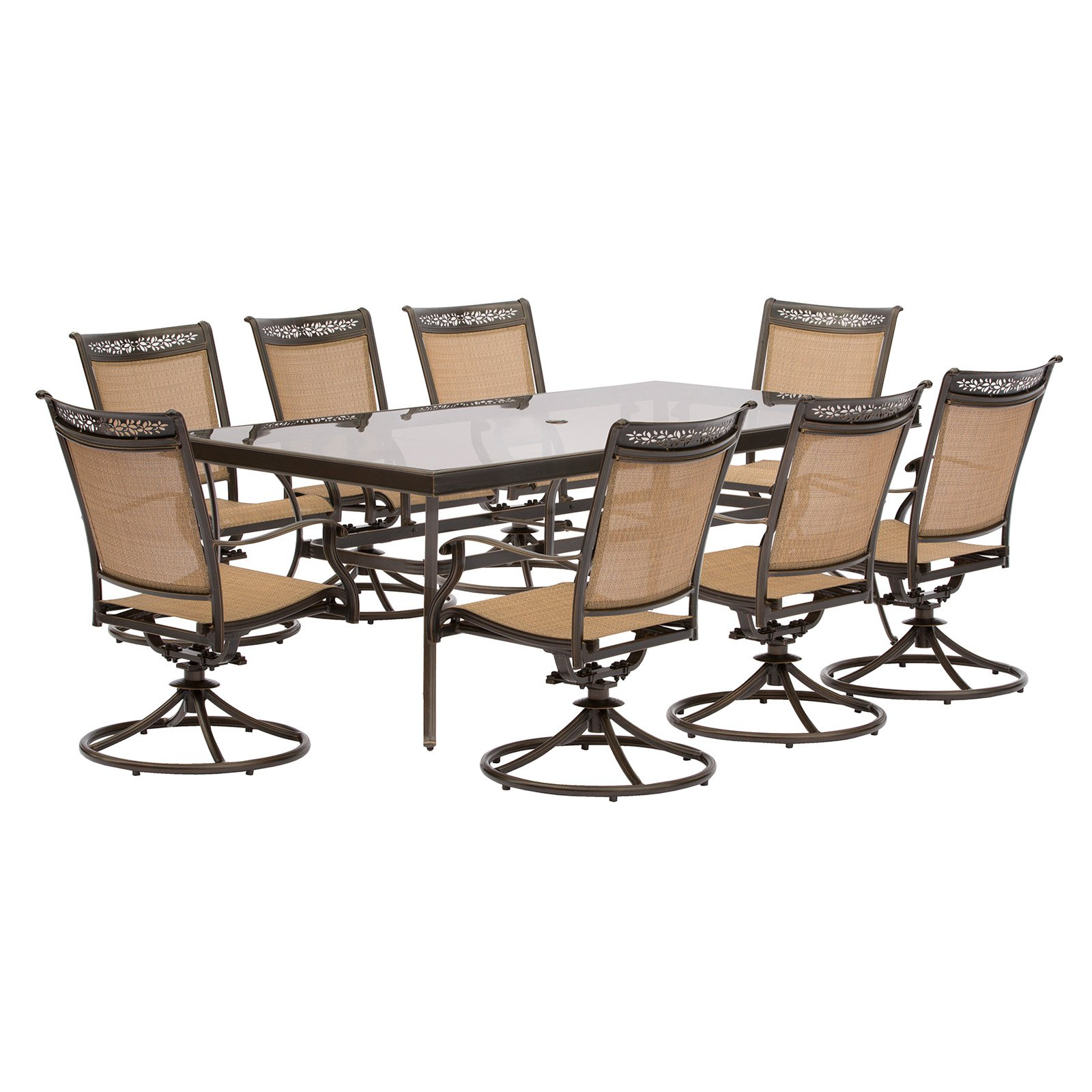 Hanover Fontana 9-Piece Outdoor Dining Set with Swivel Rockers and Glass-Top Table