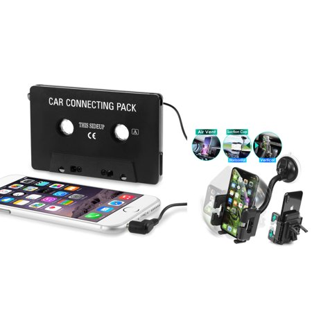 Insten Car Cassette Adapter Audio Aux - Black + Windshield Phone Holder Mount For Apple iPhone 6 Plus 6+ 5S 5C 5 SE 4S 4 iPod Touch Nano Samsung Galaxy S9 S8 S7 S6 S5 Note 8 5 4 3 LG Stylo 3 2 K20 k8