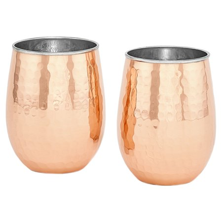 Two-Ply Hammered Solid Copper/Stemless Wine Glasses, 17 Oz., Set of 2, (L)