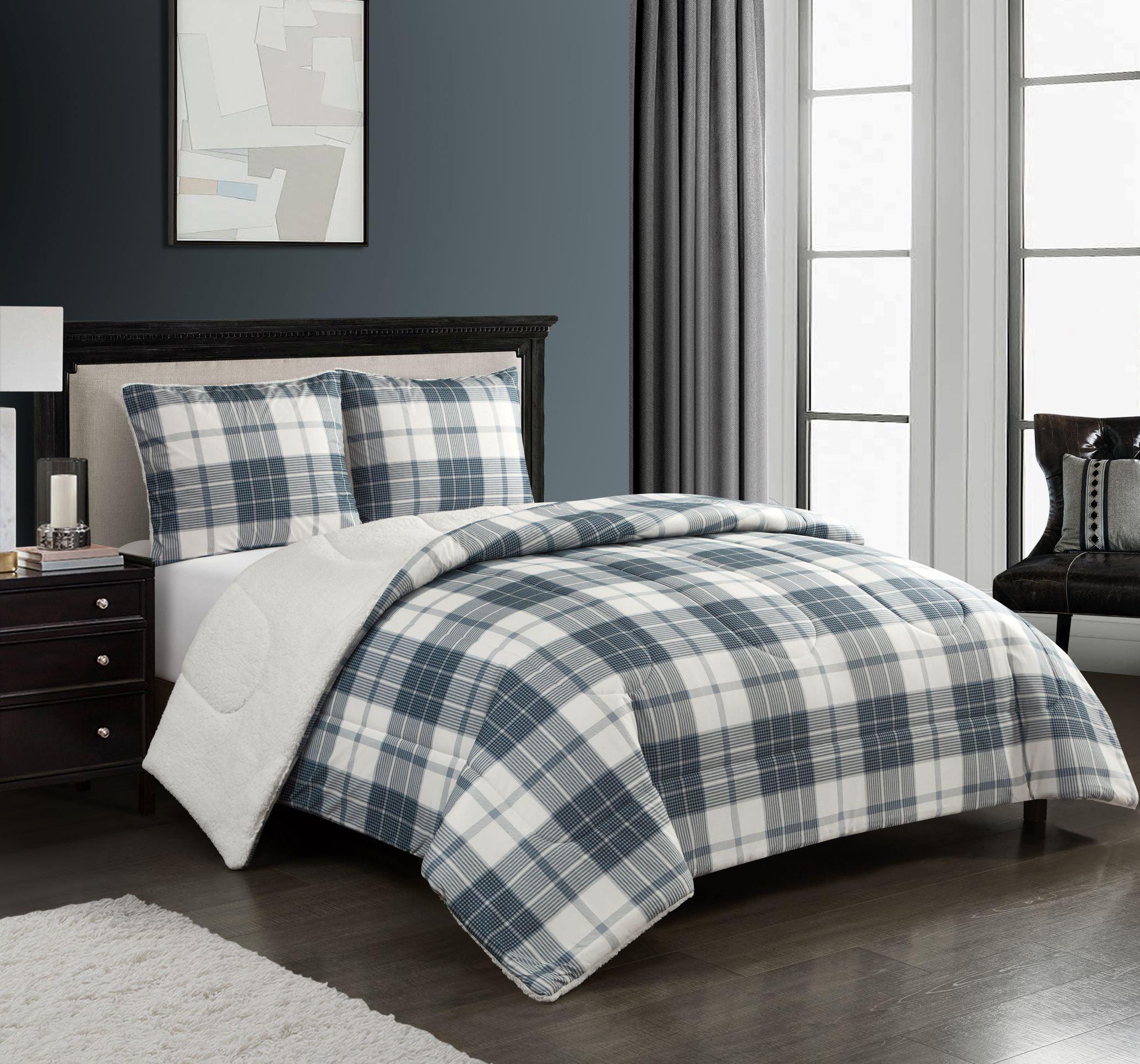 Mainstays Cozy Flannel Reverse To Super Soft Sherpa 3 Piece Comforter Set Full Queen Grey Plaid Walmart Com Walmart Com