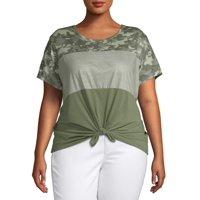 Self Esteem Juniors' Plus Size Tie Front T-Shirt