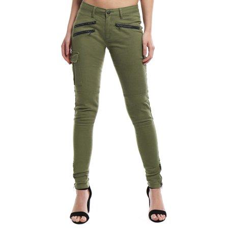 Women Low Rise Zipper Decor Stretchy Skinny Cargo Pants Low Rise Zipper Pockets