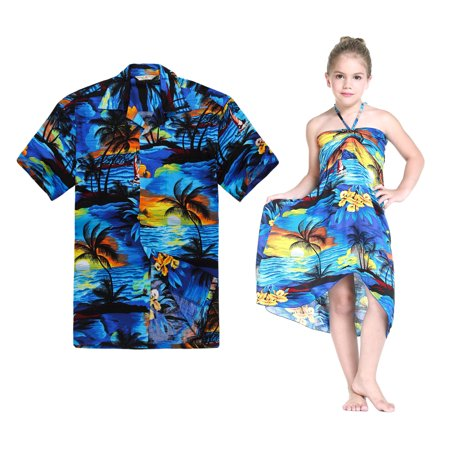 Matching Hawaiian Luau Outfit Men Shirt Girl Dress in Sunset Blue Men L Girl 2