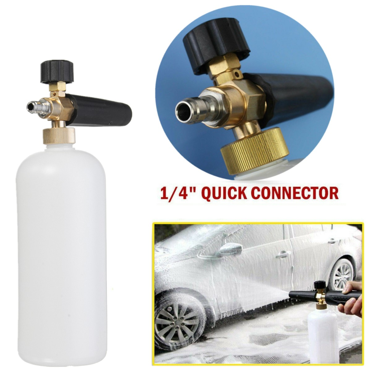 QQYUE Foam Lance Car Wash Foam Bottle High Pressure Snow Foam Lance Soap Bottle With 1//4 Quick Release Connector Auto Cleaning Tools