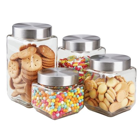 Glass Storage Canister - Home Basics 4 Piece Square Steel Top Glass Food Storage Kitchen Canister Set