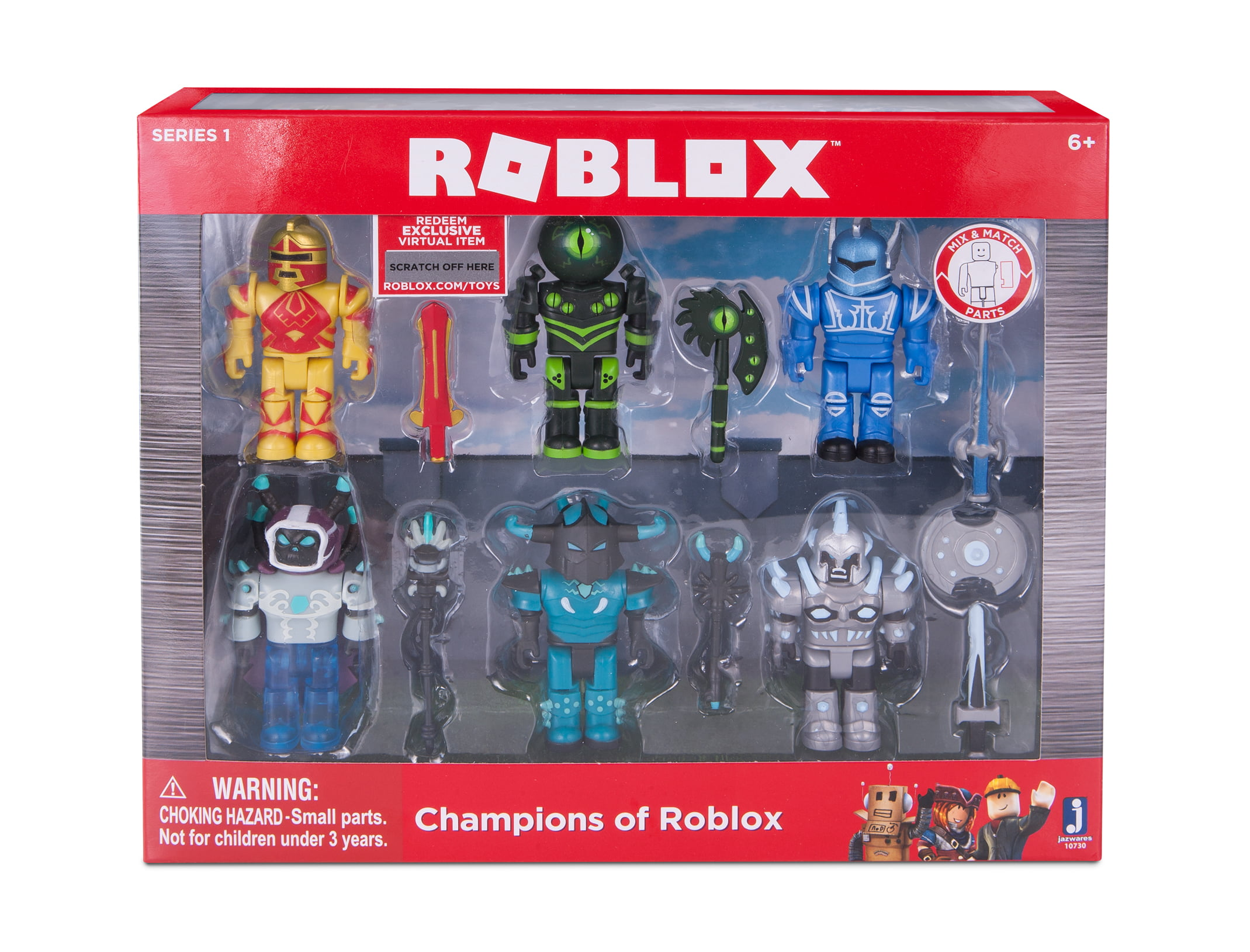 Roblox Champions Of Roblox Action Figure 6 Pack Brand New Toys Roblox Action Collection Champions Of Roblox Six Figure Pack Includes Exclusive Virtual Item Walmart Com Walmart Com