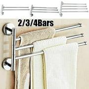 Bathroom Towel Bar Rack with 2 Swivel Bars Rotating Hanger Wall Mount Towel Storage Holder