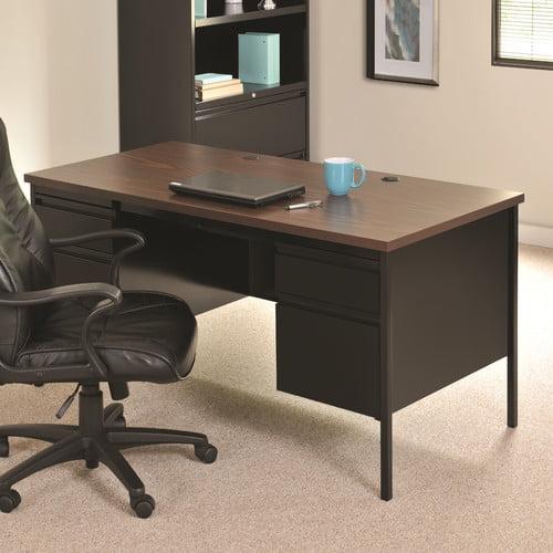 HL10000 Series 30D x 60W Double Pedestal Desk, Black/Walnut