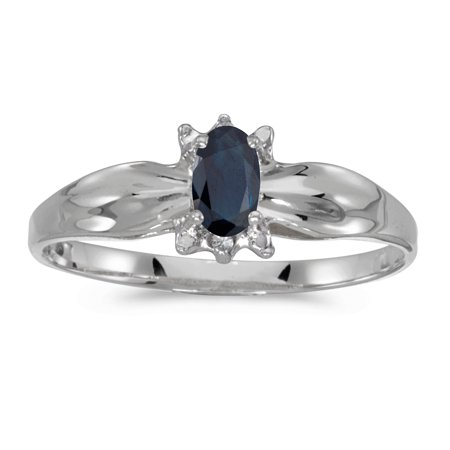 14k White Gold Oval Sapphire And Diamond Ring Oval Shaped Sapphire Ring