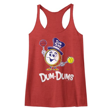 Dum Dums Sugar Candy Lollipop Drumman Womens Racerback Tank Top Tee