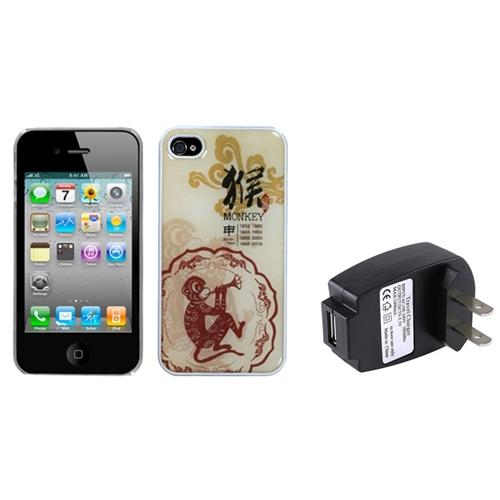 Insten Monkey-Chinese Zodiac Collection Dream Case For Apple iPhone 4 / 4S+USB AC Wall Charger