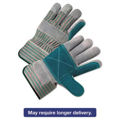 Ors Nasco 2300 2000 Series Leather Palm Gloves, Gray/green/red, 12 Pairs