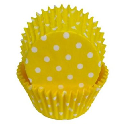 Yellow & White Polka Dot - Baking Cupcake Liners - 50 Count - Polka Dots Cupcakes