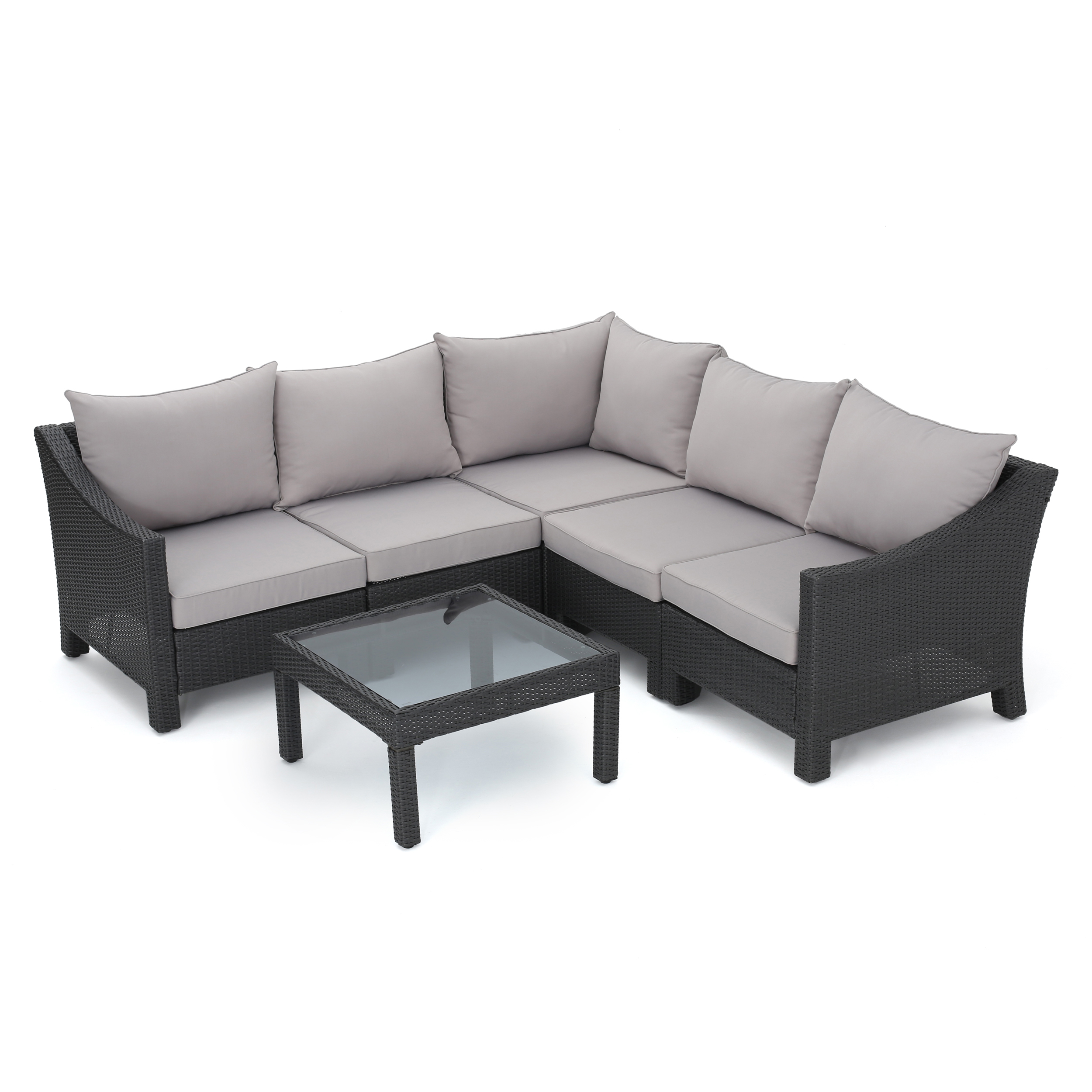 Caspian 6 Piece Outdoor Wicker Sectional Sofa Set With Water Resistant  Cushions, Grey And Silver