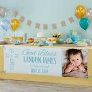 Personalized Baptism Celebration Photo Banner, Blue, Available in Blue or Pink