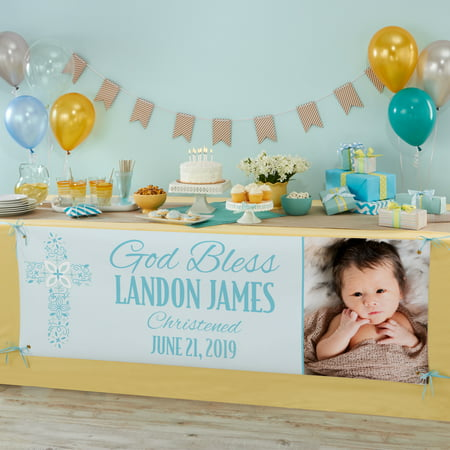 Personalized Baptism Celebration Photo Banner, Blue, Available in Blue or Pink](Personalized Banners For Graduation)