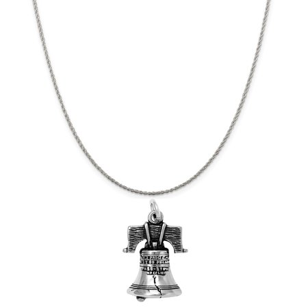 Sterling Silver Liberty Bell Charm on a Sterling Silver 18 Rope Chain Necklace