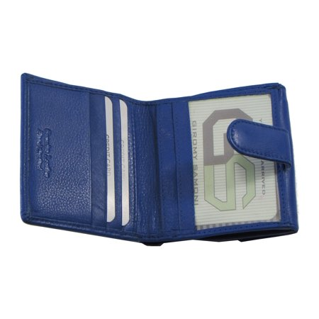 Women's Leather Wallet Blue Credit Card Slots Button Coin Pouch Bill Holder Id Window Side Pockets Blue Leather Wallet