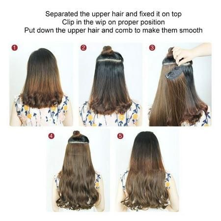 5 Clips 3/4 Pleine Tête Longue Bouclée Perruque Ondulée Agrafe En Extensions de Cheveux Synthétiques Naturels Postiches 18 Pouces Blond Noir pour Femmes Dames - image 2 of 5