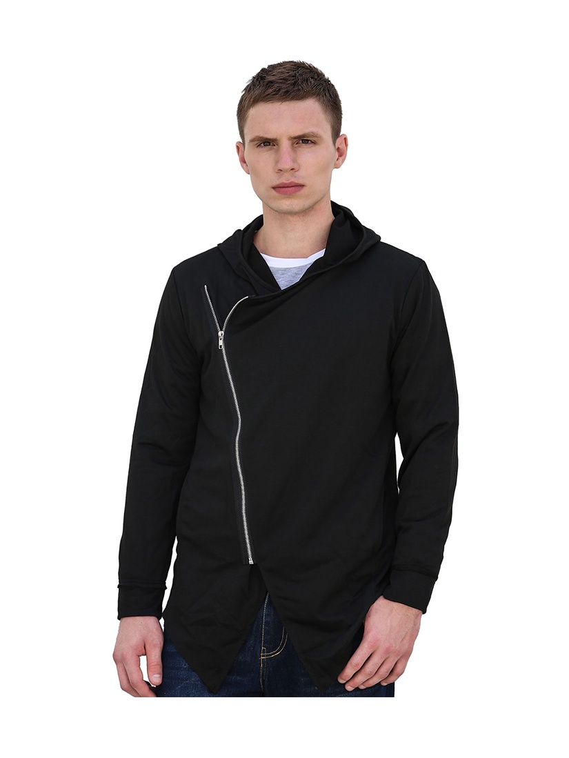 Men's Inclined Zipper Long Sleeves Hooded Cardigan Black (Size S / 36)