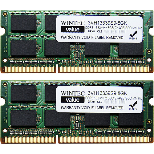 Wintec Value 8GB DDR3 1333MHz PC10660 SO-DIMM Notebook Memory Kit (4GBx2)