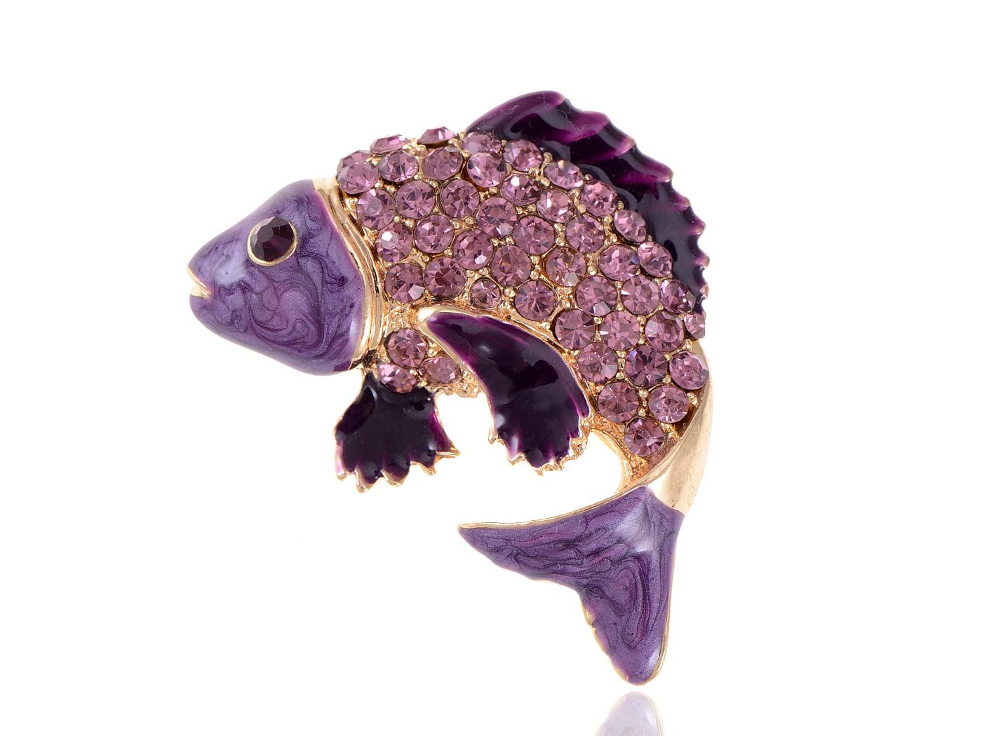 Alilang Koi Fish Pin Brooch Golden Tone Enamel With Aqua Blue, Green Or Purpl... by