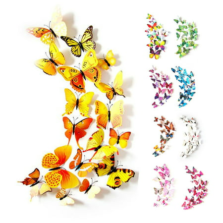 CUH 12 PCS Wall Stickers Creative 3D Butterfly Wall Stickers Art DIY Decoration Decals Wall Art Decors for Home Bedroom Living Room TV Background Wall Kitchen Fridge Window ()