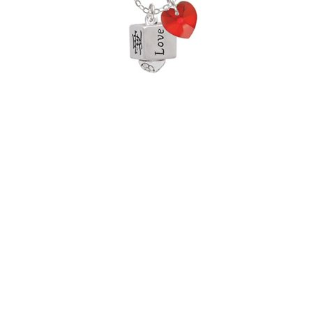 Chinese Symbol Love Square Spinner Red Crystal Heart Sophia
